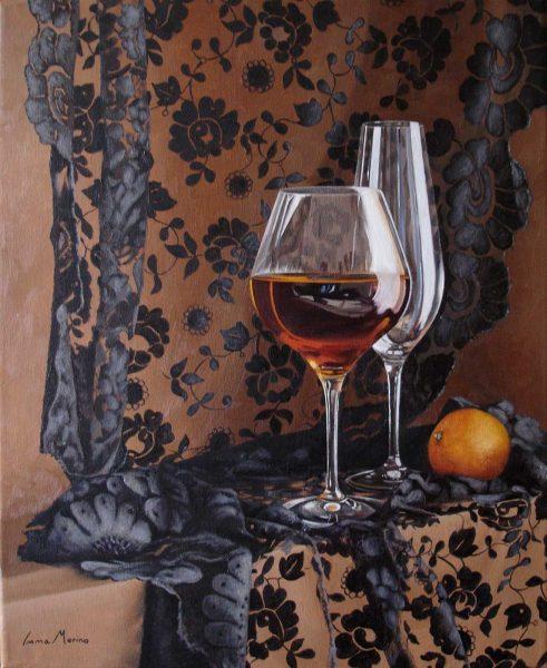 Bodegón con copas y mantilla de Inma Merino